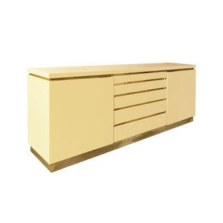 1970s, French, Ivory Lacquer Sideboard With Brass Details by Jean Claude Mahey Preview