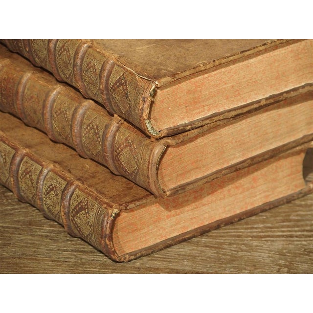 Early 18th Century Set of 18th Century French Leather Bound Books, Les Vies Des Saints, 1715 For Sale - Image 5 of 13