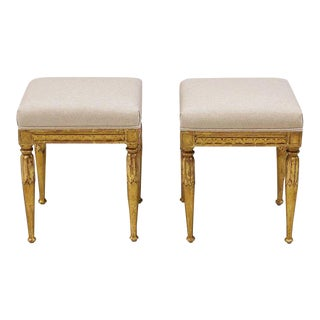 1940s Italian Giltwood Linen Upholstered Foot Stools- a Pair