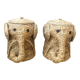 Sisal Lidded Elephant Hamper Baskets - a Pair For Sale