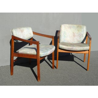 Vintage Mid Century Milo Baughman Style Blue Accent Chairs- A Pair Preview