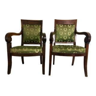 Beautiful French Empire Period Arm Chais a Pair For Sale