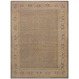 Antique Persian Tabriz Brown Background Rug - 13′ × 17′4″ For Sale