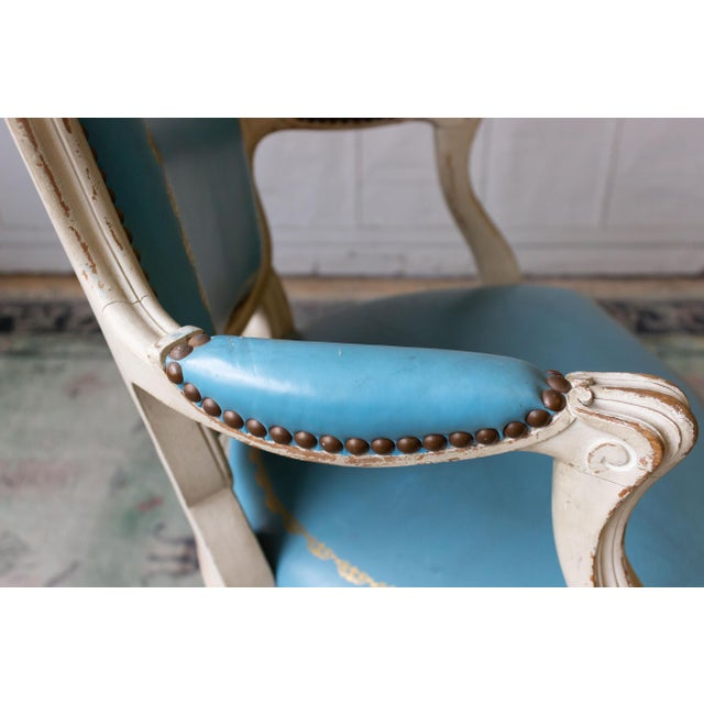 1960s Louis XV Style Blue Leather Armchairs - Set of 4 For Sale - Image 10 of 12