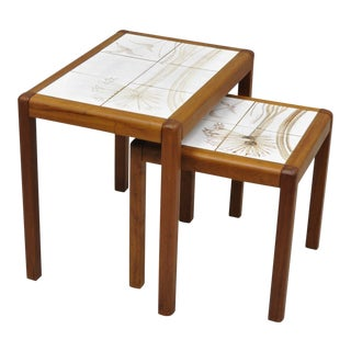 Vintage Toften Mobelfabrikken Danish Modern Tile Top Nesting Side End Tables - a Pair