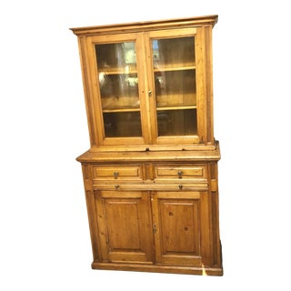 Antique Primitive Pine Step-Back Cupboard With Yellow Gold Glass Doors For Sale