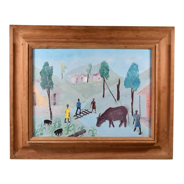 Mid 20th Century Haitian Rural Landscape Painting by Nicolas Dreux, Framed For Sale
