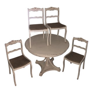 1970s French Country Henredon Dining Set - 5 Pieces For Sale