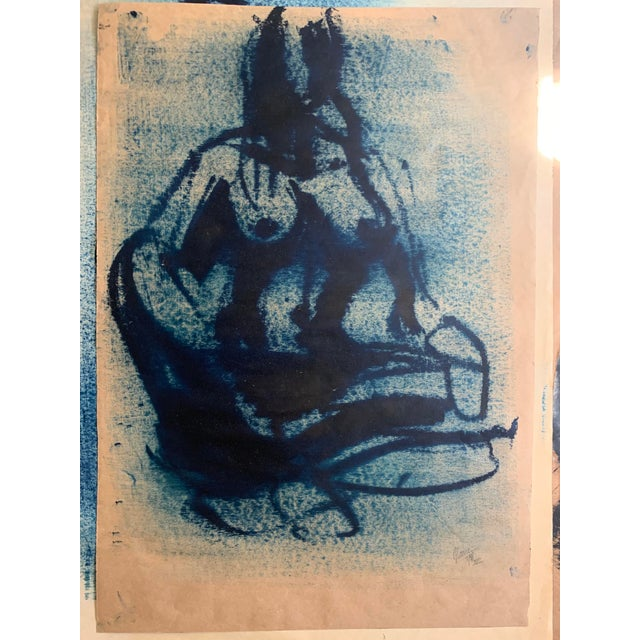 Ink Blue Greg Lauren Contemporary Painting For Sale - Image 8 of 8