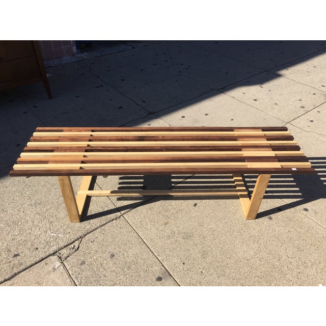 Mid-Century Style Handmade Slat Bench - Image 4 of 7