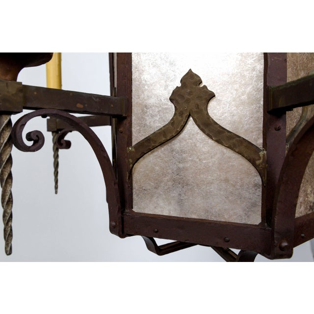 Large Antique Gothic Revival Bronze & Mica Lanterns (2 Available) For Sale - Image 9 of 13