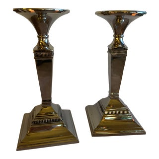 Silver-Plated Candlesticks - a Pair For Sale