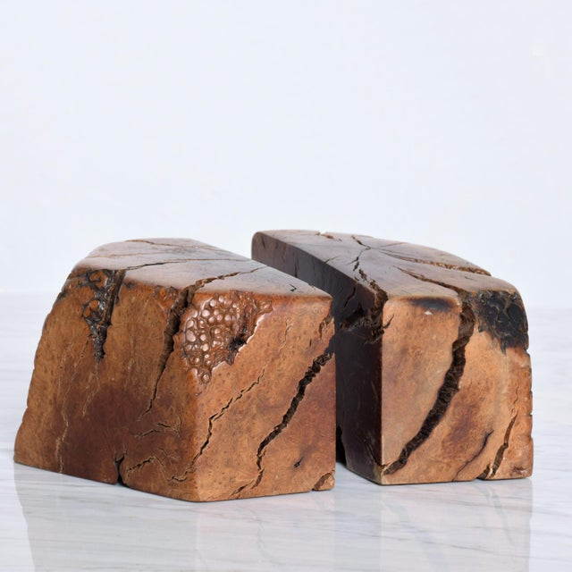 Wood Mid Century Modern Burl Wood Bookends Attr Don Shoemaker For Sale - Image 7 of 11