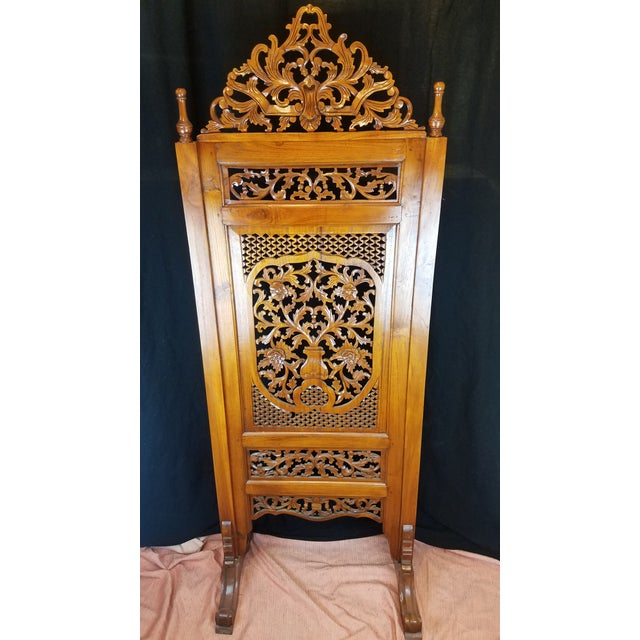 "Southeast Asian ""Lion Shanghai"" Hardwood 4-Panel Screen For Sale - Image 10 of 11"