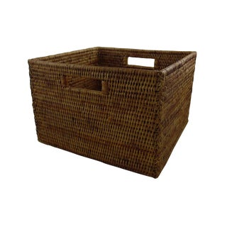 Boho Chic Artifacts Rattan Rectangular Box For Sale