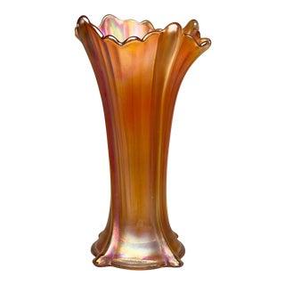 Vintage Art Deco Fenton Carnival Glass Marigold Flared Vase For Sale