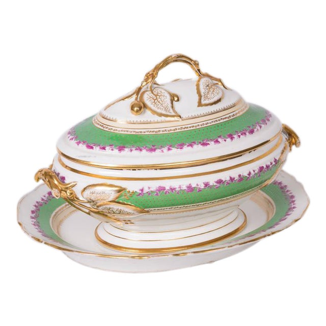 19th Century French Old Paris Lidded Oval Tureen with Underplate For Sale