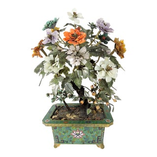 Ornamental Antique Jade Tree With Semi Precious Stone Flowers in Footed Cloisonné Jardiniere For Sale