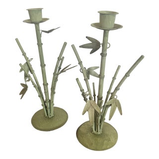 Vintage Bamboo Design Candle Holders - a Pair For Sale