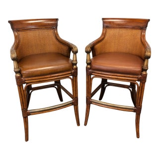 Ethan Allen Faux Bamboo Rattan Barstools - Pair For Sale