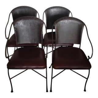 Rustic Leather Wrought Iron Table Chairs - Set of 4