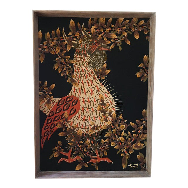 Jean Lurcat Mid-Century Modern Framed French Rooster Tapestry For Sale