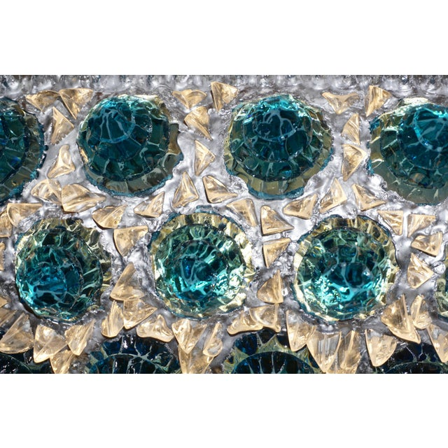Contemporary Italian Turquoise Blue & Clear Glass Oval Silver Flush / Chandelier For Sale - Image 10 of 13