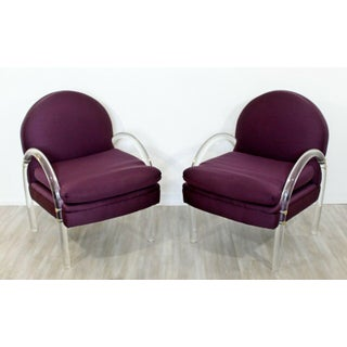 Mid Century Modern Pair Pace Lucite Armchairs Charles Hollis Jones Style 1970s Preview