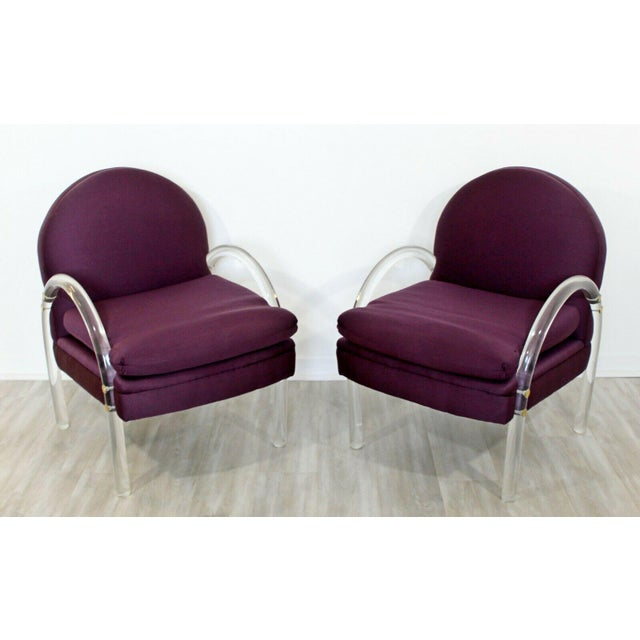 For your consideration is a stunning pair of lucite armchairs, by Pace, in the style of Charles Hollis Jones, circa the...