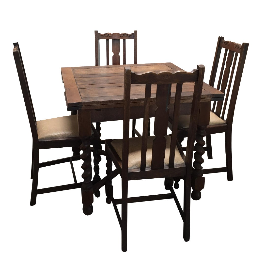 Antique Barley Twist Dining Table Set Of 5 Chairish