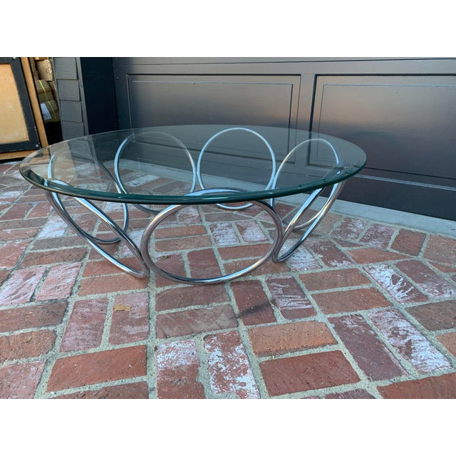 1970's Industrial Chrome and Glass Coffee Table For Sale - Image 4 of 6