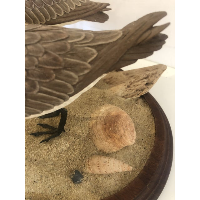 Wood Nantucket Oval Tabletop Sculpture of Carved Wood Sandpipers on the Beach For Sale - Image 7 of 11
