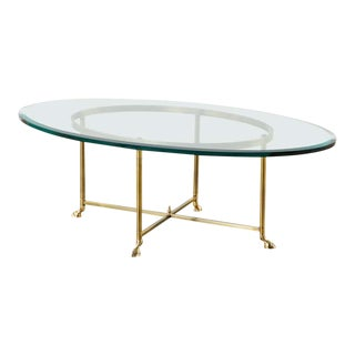 Maison Jansen Style Oval Brass and Glass Cocktail Table For Sale