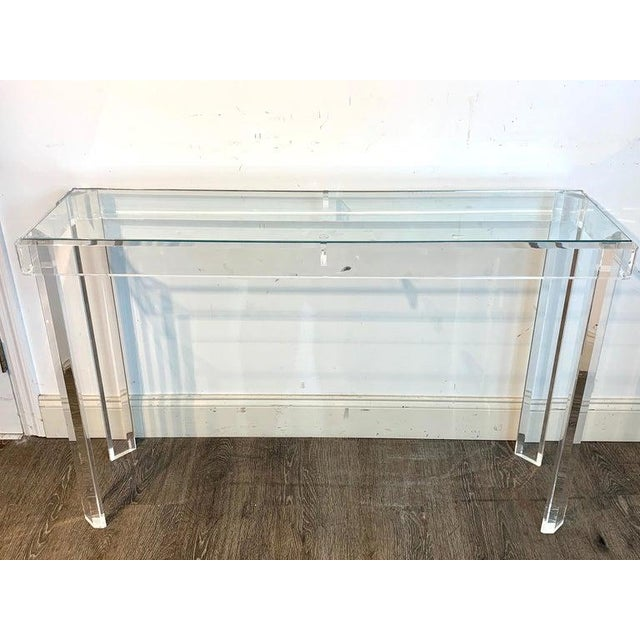 Sleek Modern Lucite and Glass Console For Sale - Image 4 of 11