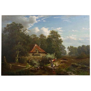 """The Old Red Mill"" Antique Oil Painting by Elisa Agnetus-Emilius Nyhoff (French, 1826-1903) For Sale"