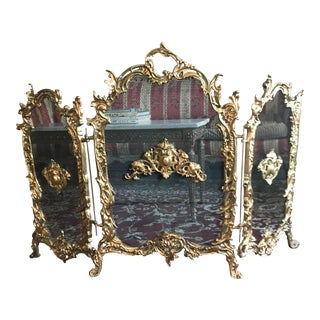 Regency Style Brass Fireplace Screen For Sale