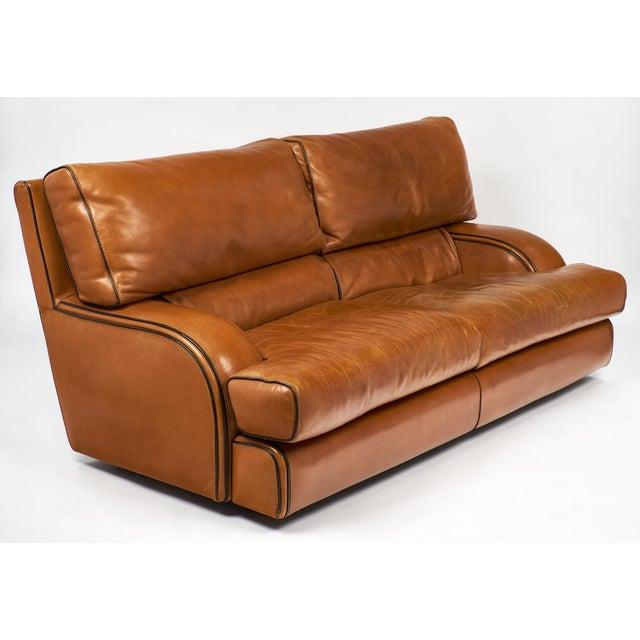 Mid-Century Modern Vintage Baxter Italian Leather Sofa For Sale - Image 3 of 10