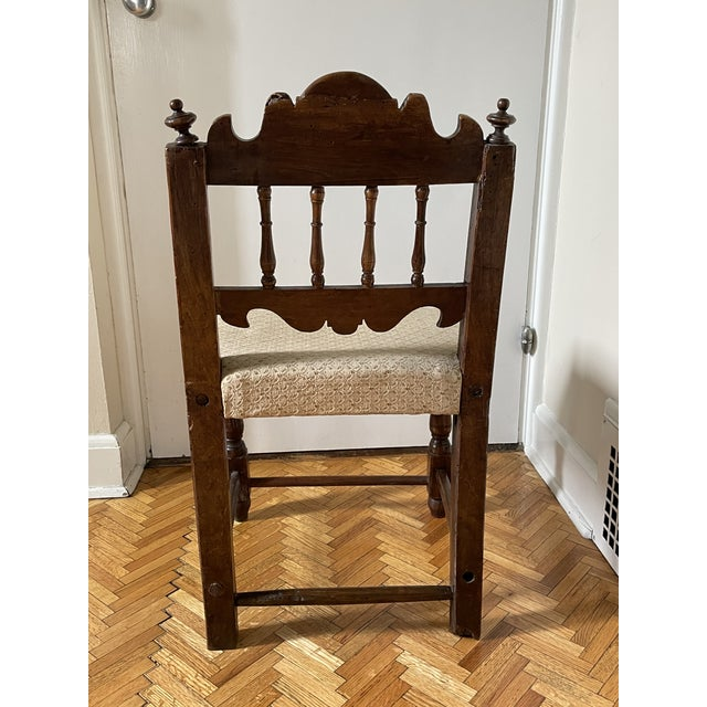 Italian 17th Century Italian Florentine Hand Carved Upholstered Walnut Side Chair For Sale - Image 3 of 13