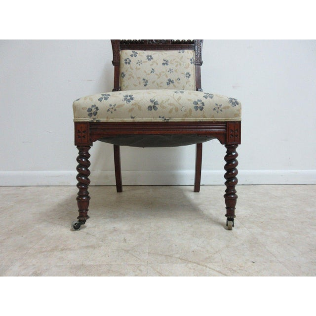 Blue Antique Victorian Carved Walnut Lounge Chair For Sale - Image 8 of 10