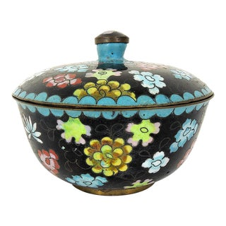 Antique Chinese Black Cloisonné Lidded Catchall or Bowl With Multi Coloured Flowers For Sale