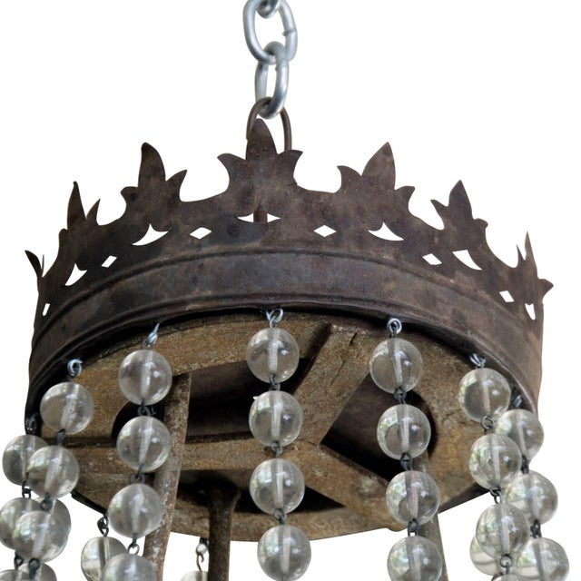 French Iron and Glass Bead Candle Chandelier, Circa 1850 For Sale - Image 4 of 6