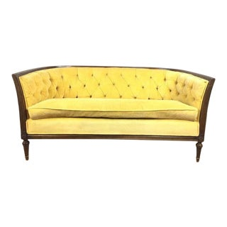 2010s Shabby Chic Yellow Upholstered Tuxedo Sofa/Loveseat