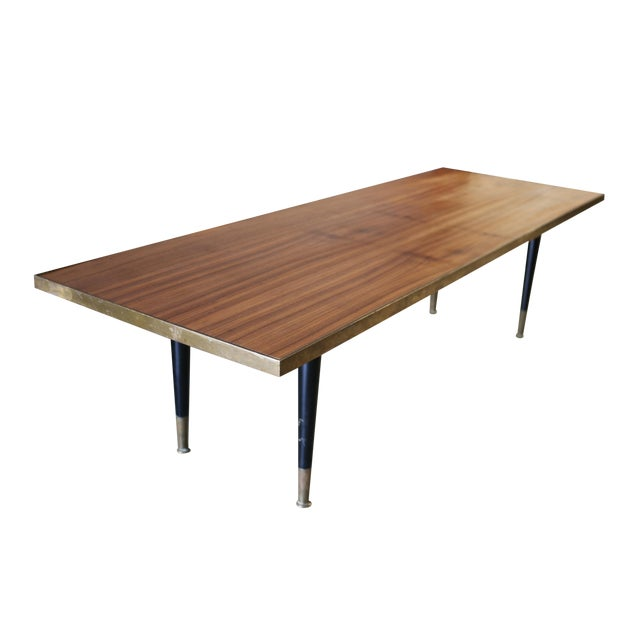 Mid Century Wood and Brass Cocktail Coffee Table - Image 1 of 6