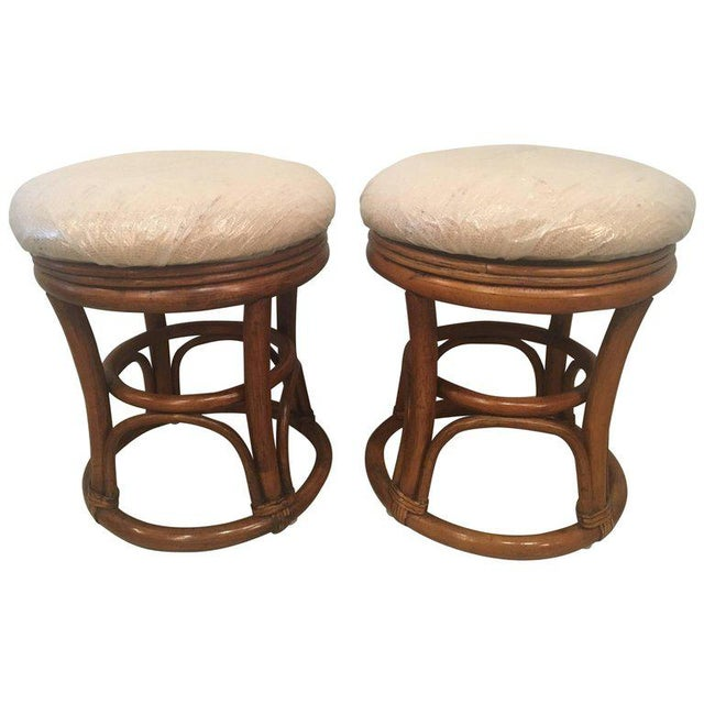 Vintage Tropical Palm Beach Rattan Stools Benches - a Pair For Sale - Image 10 of 10