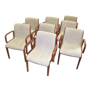 Bill Stephens Modern Armed Dining Chairs for Knoll 1300 Series-Set of 8 For Sale