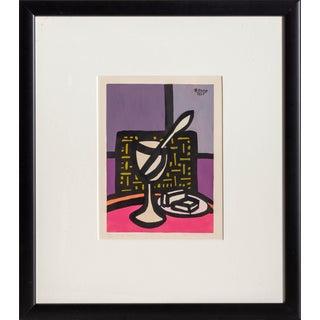 "Benjamin Benno, ""Glass and Spoon"", Still Life Screenprint For Sale"