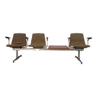 Mid Century Tandem Bench & Attached Table For Sale