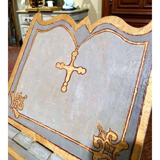 18th Century Italian Carved Giltwood and Painted Holy Bible Folding Book Stand For Sale - Image 4 of 10