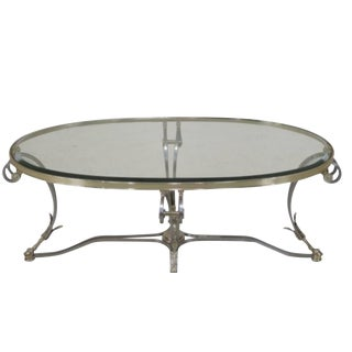 Hollywood Regency Labarge Oval Coffee Table - Glass Top, Brass & Steel Construction For Sale