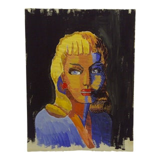 "Mid-Century Modern Original Painting o n Paper, ""Colorful Dark Side"" by Tom Sturges Jr"